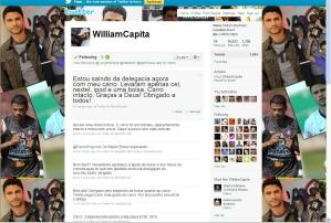 Imagem da página do Twitter de William na qual ele agradece ajuda para recuperar o carro