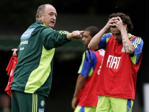O técnico Luiz Felipe Scolari, durante treino do Palmeiras na Academia