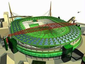 Imagem da maquete da Arena Palestra, o novo estádio do Palmeiras