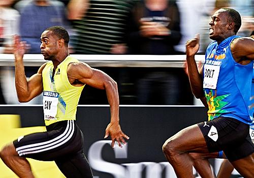Tyson Gay chega na frente de Bolt nos 100m rasos  jamaicano estava  lesionado.