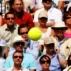 Tom�s Berdych luta para rebater bola de Rafael Nadal, na final de Wimbledon