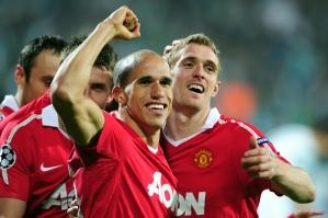 Obertan festeja segundo gol do United fora de casa